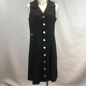 Black Sleeveless Dress w/Mother of Pearl Buttons 8